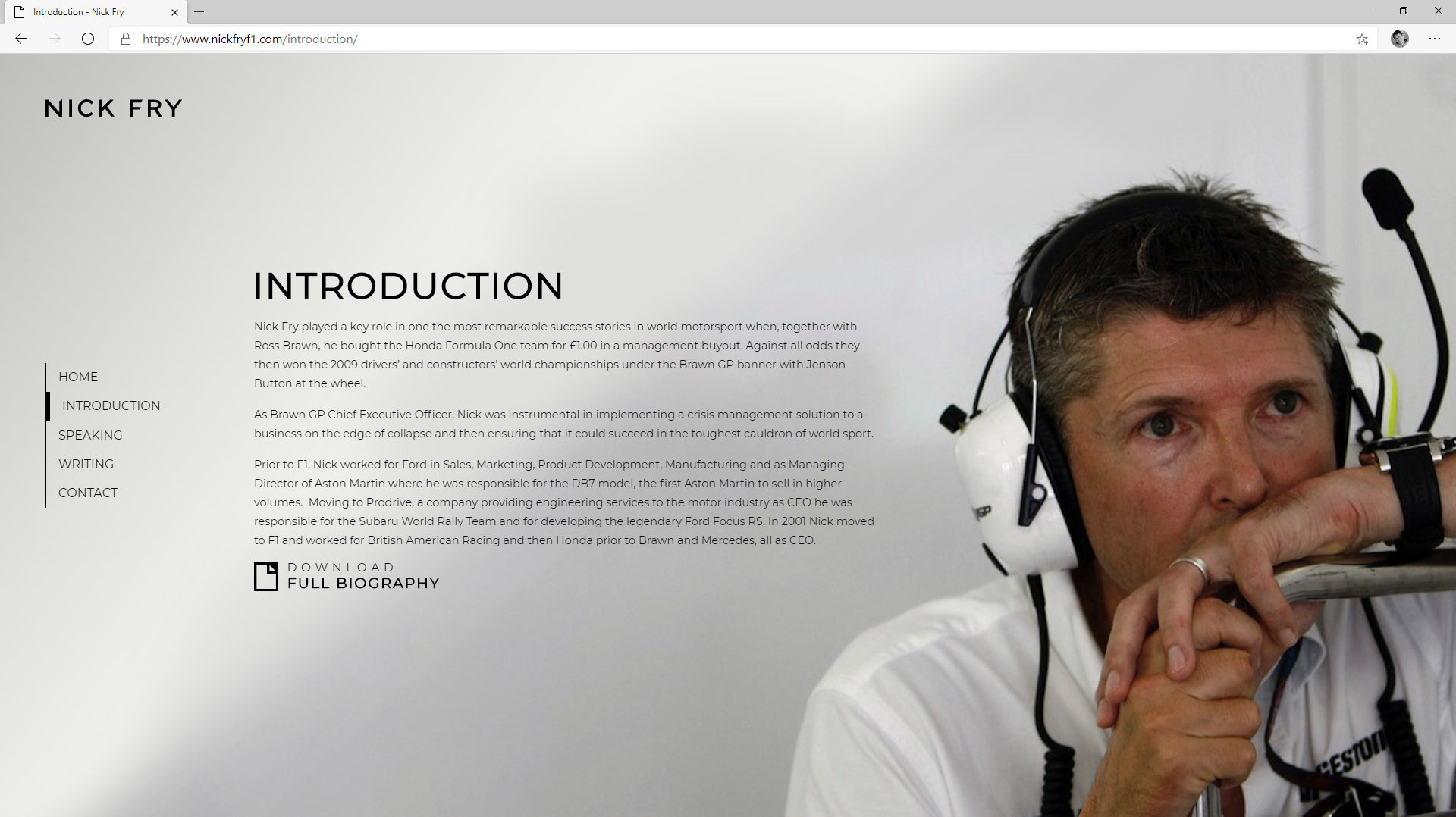 Nick Fry F1 | Website Design | Tang MArketing