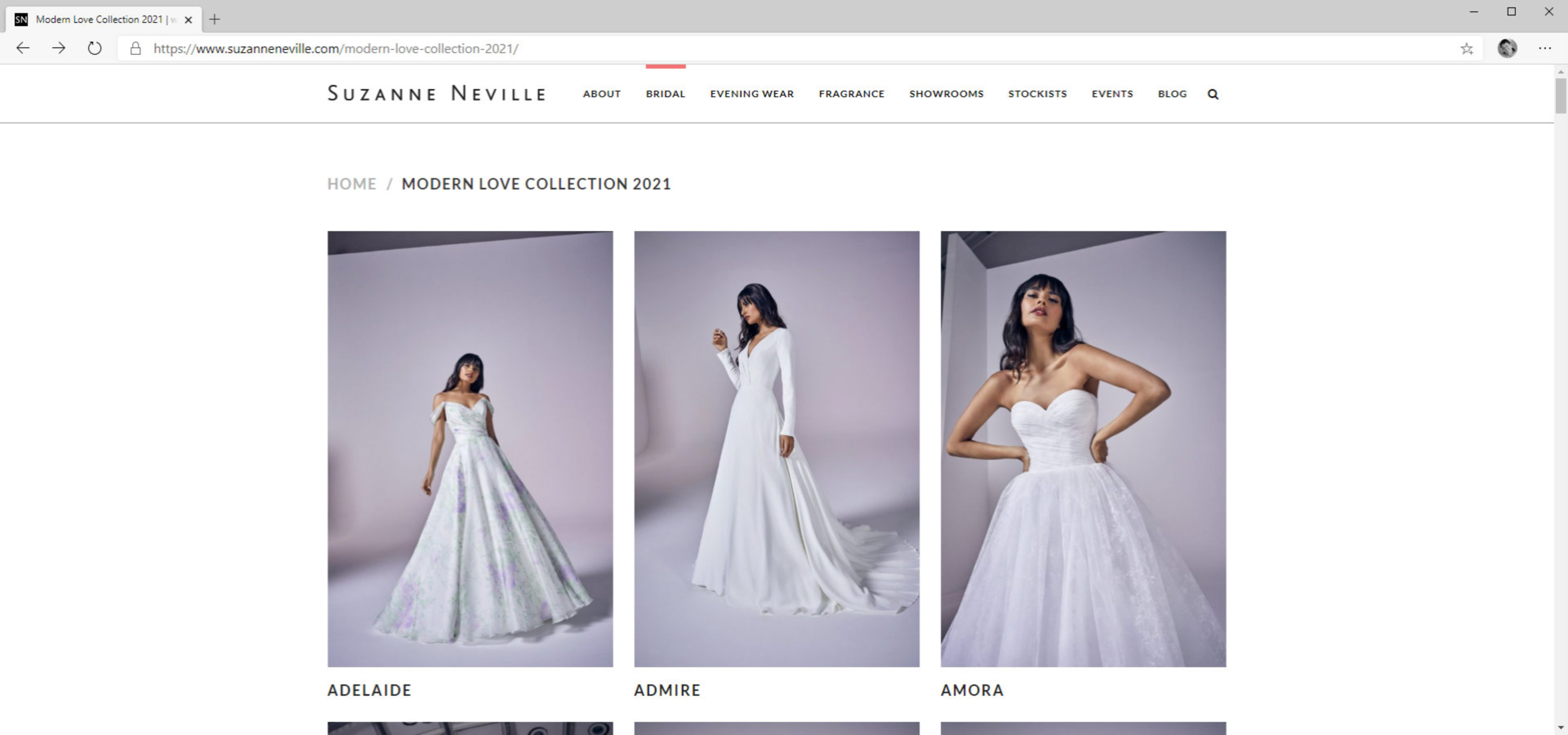 Bridal Collection | Modern Love | website design by Tang Marketing